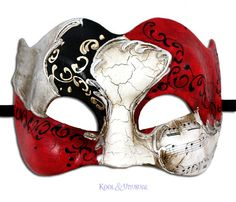 """Vivaldi Zane"" Venetian Masquerade Mask for Men Red Silver Made in Italy 