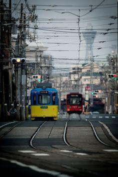 Osaka Tram, Japan 路面電車と通天閣