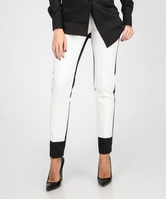 Look at this #zulilyfind! Black & White Two-Tone Skinny Pants #zulilyfinds