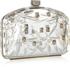 Valentino Crystalembellished Perspex Clutch in Gold