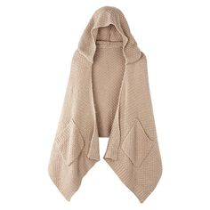 """Dual-purpose! The knit camel scarf in a luxe popcorn stitch features a built-in hood and a pocket on each end.  FEATURES • 18"""" W x 31 1/2"""" L  MATERIALS • 100% acrylic  CARE • Hand wash, dry flat  Made in China"""