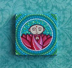 Mini Original Painting- Jizo - Little Buddha - lovely lotus. $28.00, via Etsy.
