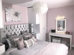 Silver, gray and light pink bedroom color scheme Silver, gray and light pink bedroom color scheme Pink And Silver Bedroom, Silver Bedroom Decor, Pink Bedroom Walls, Grey Bedroom Design, Silver Room, Bedroom Wall Colors, Pink Bedrooms, Bedroom Color Schemes, Home Decor Bedroom