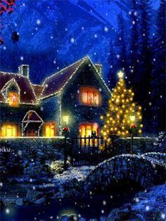 Christmas Tree Gif, Holiday Gif, Christmas Scenery, Merry Christmas To All, Christmas Night, Outdoor Christmas, Christmas Pictures, Beautiful Christmas, Gif Noel