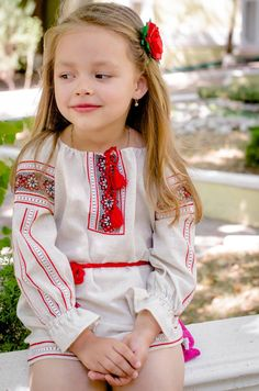 Traditional Hand Embroidered Raglan Sleeve Girl's by UKREmbroidery