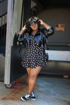 Sweet'n Chic Streetstyle with polka-dotted mini dress, classic Vans and a shiny . Sweet'n Chic Streetstyle with polka-dotted mini dress, classic Vans and a shiny leather jacket in Look Plus Size, Plus Size Women, Plus Size Fashion For Women Summer, Plus Size Style, Plus Size Chic, Plus Size Tips, Plus Size Dresses, Plus Size Outfits, Plus Size Concert Outfits