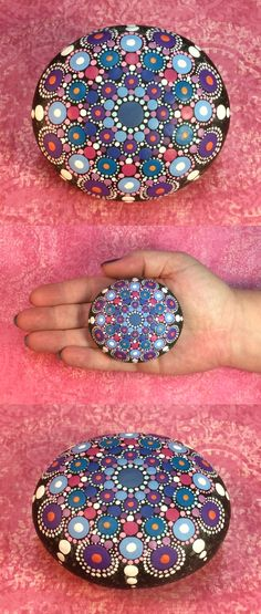 "Mandala Stone by Kimberly Vallee: Hand painted with acrylic and protected with a matt finish, each stone is 2.5""-3"" diameter and is one-of-a-kind."