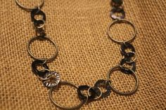 Gunpowder Silver and Black Pewter Circles Chain Necklace by APromisedHope on Etsy
