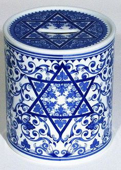 Solomon Seal Blue - Spode Tzedakah box In Judaism, tzedakah refers to the religious obligation to do that is right and just, one form of which is to carry out tzedakah by donating a portion of one's income to charity or to a person in need.
