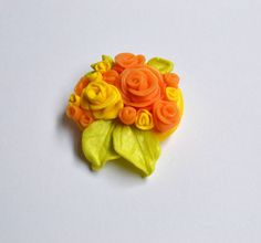 Flower Brooch Polymer clay brooch Orange roses by InnaMasiDesign