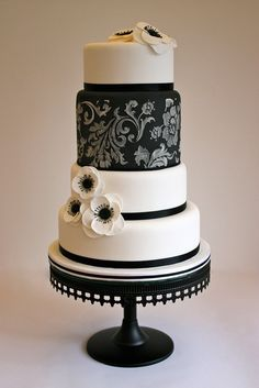 Love this cake! Black + White Anemone Wedding Cake by ConsumedbyCake Black White Cakes, Black And White Wedding Cake, White Wedding Cakes, Beautiful Wedding Cakes, Gorgeous Cakes, Pretty Cakes, Cute Cakes, Amazing Cakes, White Weddings
