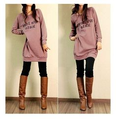 Super oversized sweater with print, with black jeans and tan boots <3