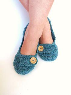 Crochet House Slippers Greystone Blue Green by StoneyCreekKnitters, $29.00
