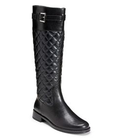 Love this Black Quilted High Ride Wide-Calf Boot by A2 by Aerosoles on #zulily! #zulilyfinds