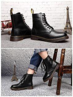 Patrón británico zapatos de invierno Hombre del cuero genuino Botas moda  Lace Up Warm nieve de 572784547c6