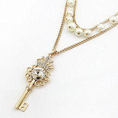 Aokdis (TM) Hot Selling Womens Fashion Rhinestone Crystal Crown Key Necklace Multi Layer Pearl Chain Aokdis(TM) http://www.amazon.com/dp/B00OISRFTO/ref=cm_sw_r_pi_dp_zemQub1R2GG4X