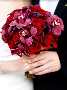 Rich Red Rose & Orchid bouquet