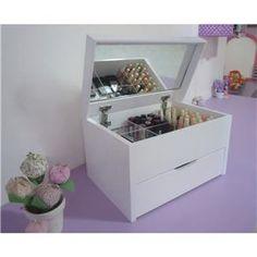 Caixa Organizadora Porta Maquiagem com Espelho - Branca
