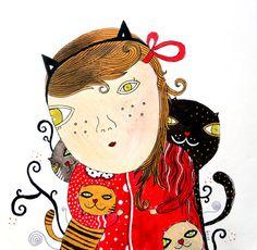 Original  drawing  Catwoman Weird art Cat art Home decor by krize, $85.00