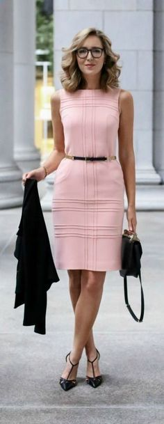 pink sheath dress, cropped double breasted jacket, pointed toe t-strap pumps, black handbag   skinny belt what to wear to a client meeting, dress for meeting with a client