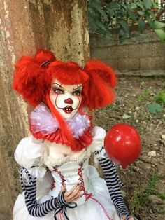 OOAK Polymer Clay Gothic Horror Art Doll PENNYWISE  Stephen King  IT by AltuncuART on Etsy