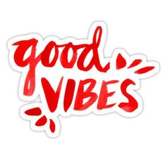 'Good Vibes - Red Ink' Sticker by Cat Coquillette Tumblr Stickers, Phone Stickers, Cool Stickers, Makeup Stickers, Wallpaper Stickers, Red Wallpaper, Wallpaper Quotes, Wallpaper Desktop, Disney Wallpaper