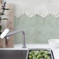Kitchen Reno, Kitchen Backsplash, Hexagon Tiles, Coffee Corner, Splashback, Home Kitchens, Sink, Indoor, Beautiful