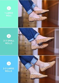 How to roll your jeans and what they will look like with different shoe styles.