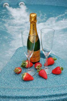 Champagne & Strawberries ... | Via ༺♥༻LadyLuxury༺♥༻
