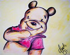 """Pooh"" Drawing/Watercolor 2015 by indiaSheana www.indiaSheana.com"