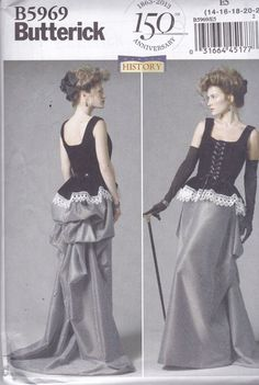 Steampunk - Butterick 5969 Womens Victorian Corset and Long Bustle Skirt Size 1416182022 UNCUT by PlusPatternParadise