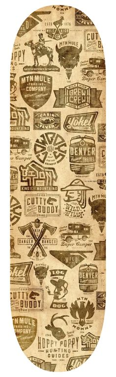 Jeremy Pruitt/Thinkmule: Bordo Bello Skate Deck. Graphics loosely celebrate the state of Colorado through 17 individual logos.