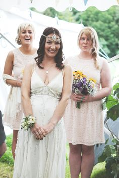 Happiness by Jenny Packham and the 'Stella' headpiece by Lucy Marshall.  http://rachelhudson.co.uk/