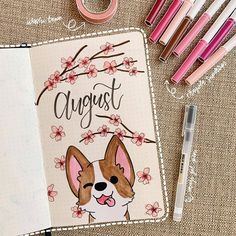 Check out these super cute AUGUST bullet journal monthly cover ideas! August Bullet Journal Cover, Bullet Journal Cover Ideas, Bullet Journal Banner, Bullet Journal Notebook, Bullet Journal Aesthetic, Bullet Journal School, Bullet Journal Spread, Bullet Journal Ideas Pages, Bullet Journal Layout