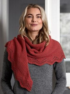 This garter stitch shawl has a lace border which is knitted separately and attached to the finished garment. Knitted with Novita Wool Cotton. Lace Patterns, Knitting Patterns, Crochet Patterns, Cowl Scarf, Poncho, Purl Stitch, Garter Stitch, Knitted Shawls, Knitting Projects