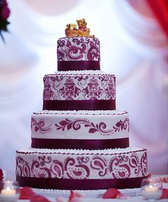 indian wedding cake with a winnie the pooh cake topper