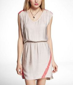 TIE BACK NEON LACE DETAIL DRESS at Express