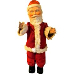 Vintage 1920's - 40's all Composition Santa Claus Doll from front ...