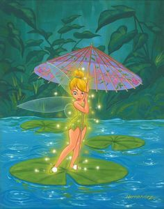 Tink's Magical Parisol: By Manuel Hernandez, Disney Fine Art Tinkerbell And Friends, Tinkerbell Disney, Peter Pan And Tinkerbell, Tinkerbell Fairies, Peter Pan Disney, Disney Girls, Disney And More, Disney Love, Disney Magic