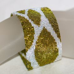 Spring Leaves ... Peyote Bracelet . Chartreuse . Crystal . Shimmery . Dazzling . Sparkly . Leafy . Green . Nature Inspired . Abstract by time2cre8 on Etsy https://www.etsy.com/listing/67847181/spring-leaves-peyote-bracelet-chartreuse