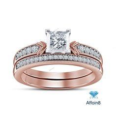 2.00CT Princess Cut Diamond Engagement Wedding Bridal Ring Set 14k Rose Gold Fn #affordableBridaljewelry #EngagementWeddingAnniversary