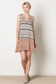 TM 3617-1 Hanky print dress in cream