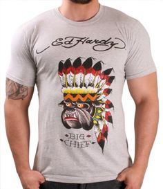 Ed Hardy By Christian Audigier Bulldog Chief Men's T-Shirt Crewneck Tee Size XL - From the 2013 Ed Hardy Heritage Collection. Christian Audigier has quickly become Rock Royalty through the tattoo designs of Ed Hardy. Celebrate who you are with this c