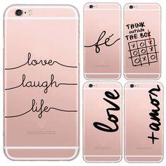 Nique portugués palabras Amor Amor diseño transparente del teléfono del silicio suave de la contraportada para Apple Apple Iphone 6 caso 6 S cubierta