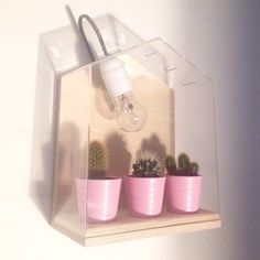"""Ikea Vindruva green house hacked into a wall lamp #ikea #ikeahack #lamp #diy"""