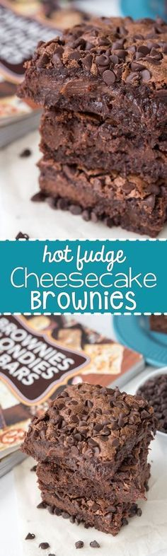 Hot Fudge Cheesecake Brownies - A decadent brownie filled with hot fudge cheesecake. This easy recipe is perfect for chocolate lovers! I love hot fudge Just Desserts, Delicious Desserts, Dessert Recipes, Yummy Food, Hot Fudge, Chocolate Desserts, Chocolate Lovers, Chocolate Chips, Mint Chocolate