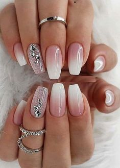 Superb Nail Designs for Women in Year 2019 - Nails Styles - Nageldesign Ombre Nail Designs, Cool Nail Designs, Ombre Nail Art, New Years Nail Designs, Fancy Nails Designs, Nail Designs With Glitter, How To Ombre Nails, Acrylic Ombre Nails, Nail Crystal Designs