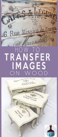 There are several ways to transfer images on wood. This one stop transfer guide covers all techniques with pros and cons for your DIY project. - 5 Ways to Transfer Images on Wood and Glass - Painted Furniture Ideas Diy Wood Projects, Furniture Projects, Furniture Makeover, Wood Crafts, Woodworking Projects, Projects To Try, Woodworking Classes, Woodworking Furniture, Fine Woodworking