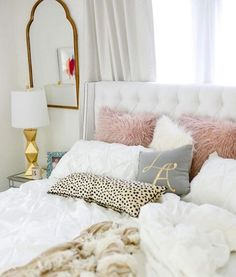 White Bedding | Blush, Grey and Gold Accents | Accent Pillows | White Bed | White Walls | Bedroom Inspiration
