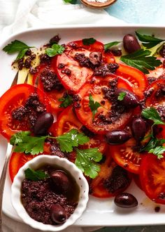 Tomato Salad with Olive Tapenade on a platter Lunch Recipes, Cooking Recipes, Paleo Recipes, Free Recipes, Recipetin Eats, Raw Vegetables, Tapenade, Tomato Salad, Soup And Salad